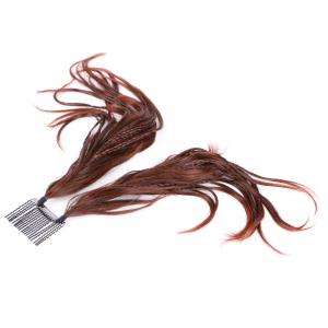 Straight Short Clip-In Micro Braids Hair Pieces - Dark Auburn