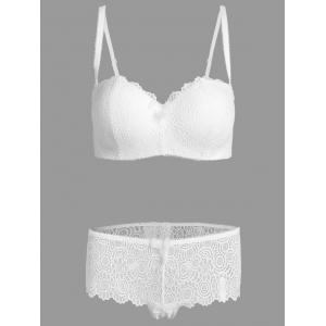 Plus Size Lace Padded Push Up Bra Set