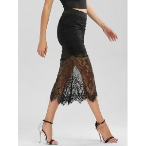 Floral Lace Panel Ruched Midi Skirt -
