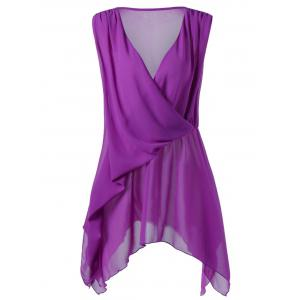 Plus Size Drape Front Handkerchief Blouse - Purple - 4xl
