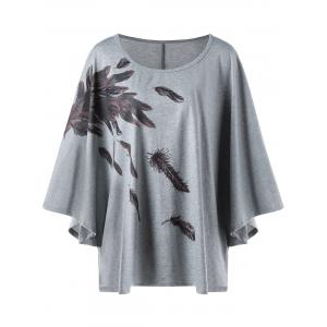 Plus Size Feather Print Dolman Sleeve T-shirt
