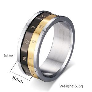 Engraved Roman Numerals Finger Fidget Ring - SILVER 7