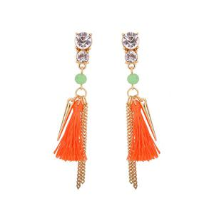 Rhinestone Tassel Resin Bead Fringed Earrings