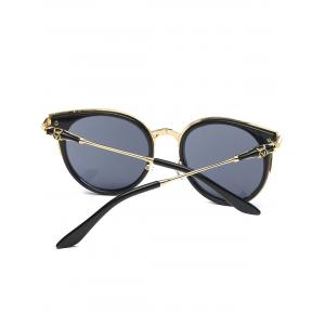 Round Metallic Spliced Leg Cat Eye Sunglasses -