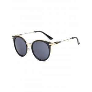Round Metallic Spliced Leg Cat Eye Sunglasses