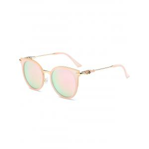 Mirror Reflective Round Retro Cat Eye Sunglasses - Pink Frame+pink Lens