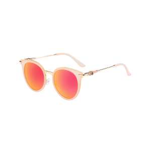 Mirror Reflective Round Retro Cat Eye Sunglasses - ORANGE RED