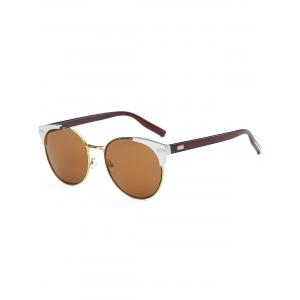 Cat Eye Vintage Round Metallic Splicing Sunglasses - Tea-colored - 9