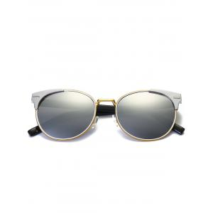 Vintage Round Mirrored Cat Eye Sunglasses - REFLECTIVE WHITE COLOR