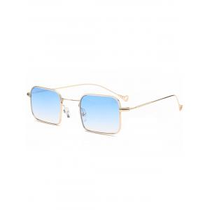 Asymmetrical Hollow Out Leg Ombre Rectangle Sunglasses - Light Blue