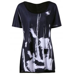 Long Plus Size Ink Painting T-shirt