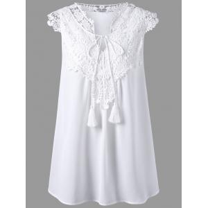 Lace Embellished Tassel Plus Size Chiffon Flowy  Blouse - White - 4xl