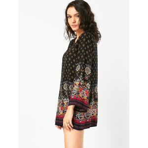 Bohemian Print Long Sleeve Tunic Shift Dress - BLACK 2XL