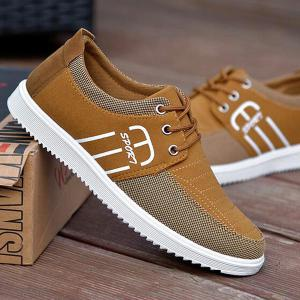 Tie Up Stitching Breathable Casual Shoes - Khaki - 42