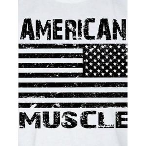 Bodybuilding Muscle American Flag Tank Top - WHITE 2XL
