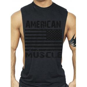 Bodybuilding Muscle American Flag Tank Top - Black - M