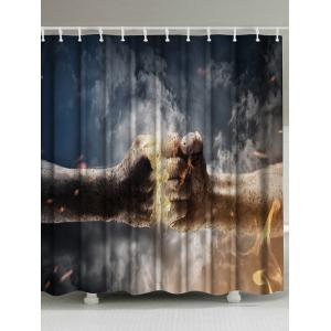 Fist Spark Printed Shower Curtain with Hooks - Colormix - W71 Inch * L79 Inch