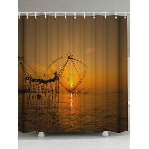 Sunset Cast Net Polyester Fabric Shower Curtain - Brown - W71 Inch * L79 Inch
