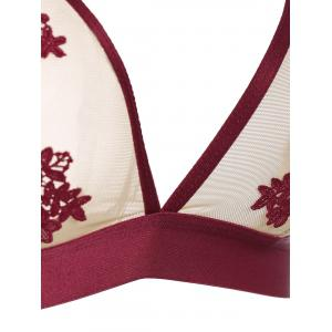 Mesh Flower Embroidered Lingerie Bra Set - RED 75A