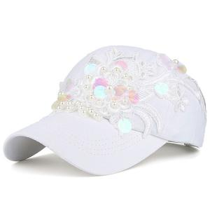 Faux Pearl Sequin Lace Floral Baseball Hat - White