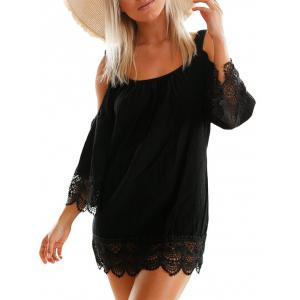 Lace Trim Cold Shoulder Dress - Black - L