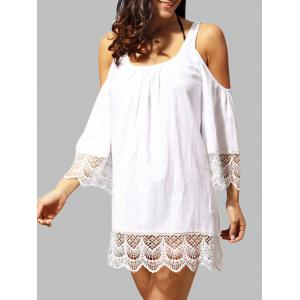 Lace Trim Cold Shoulder Dress