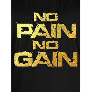 No Pain No Gain Workout Tank Top - BLACK AND GOLDEN XL