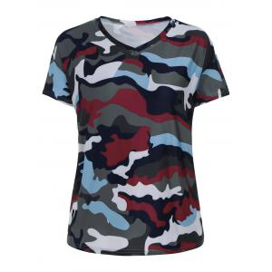 Plus Size V Neck Camouflage Print  T-shirt