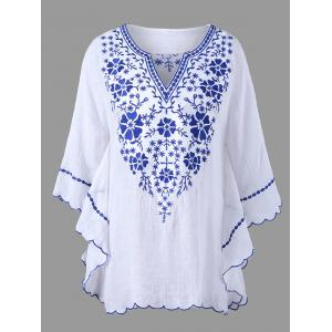 Plus Size Scalloped Hem Embroidered Blouse