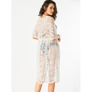 White One Size Longline Sheer Lace Cover Up Cardigan | RoseGal.com
