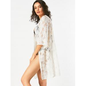 Flower Jacquard Long Lace Sheer Kimono Cover Up - WHITE ONE SIZE