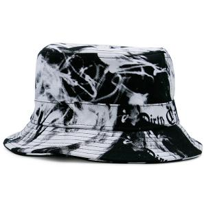 Smoke-Filled and Letters Print Bucket Hat - Black