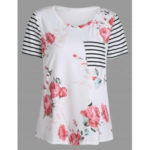 Short Sleeve Floral Print Striped Pocket T Shirt - White - Xl