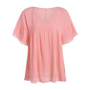 V Neck Chiffon Tunic Pleated Blouse