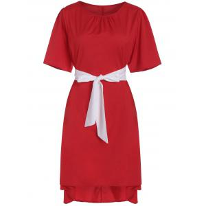 Plus Size High Low Asymmetric Dress with Pussy Bow Scarf