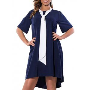 Plus Size High Low Asymmetric Dress with Pussy Bow Scarf - Purplish Blue - 2xl
