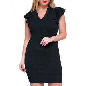 Ruffle V Neck Plus Size Sheath Dress