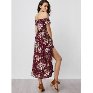 Off The Shoulder Overlay Floral Print Romper - WINE RED XL