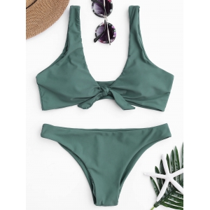 Knotted Scoop Neck Bikini Set - Lake Green - S