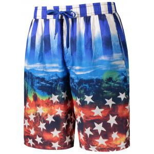 Star and Stripe Print Board Shorts -