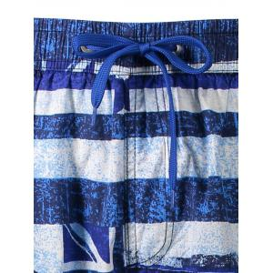 Union Jack Print Stripe Patriotic Board Shorts - Bleu L