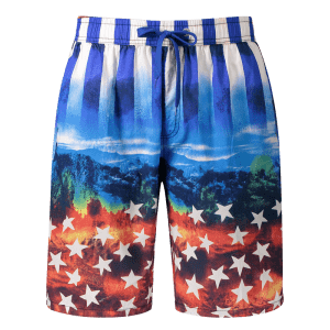 Star and Stripe Print Board Shorts