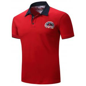 Graphic Embroidered Color Block Panel Polo T-shirt - RED 3XL