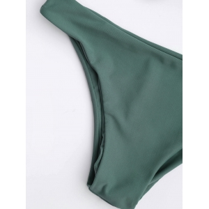 Knotted Scoop Neck Bikini Set - LAKE GREEN M
