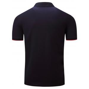 Graphic Embroidered Color Block Panel Polo T-shirt - DEEP BLUE 3XL