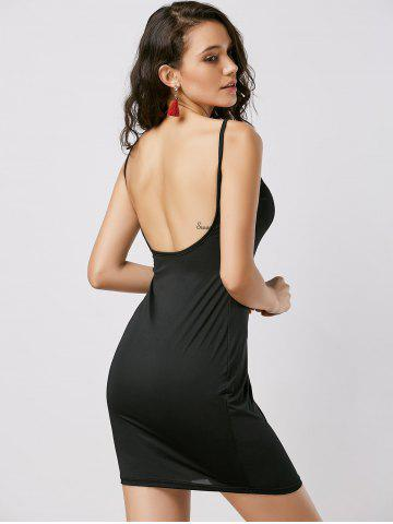 Cheap Fitted Open Back Slip Dress - XL BLACK Mobile