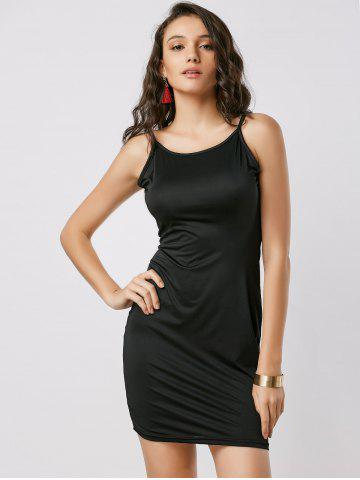 Shop Fitted Open Back Slip Dress - XL BLACK Mobile