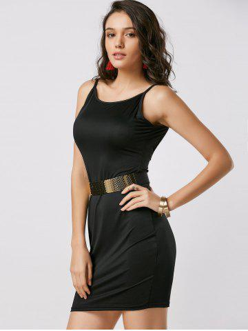 Best Fitted Open Back Slip Dress - XL BLACK Mobile