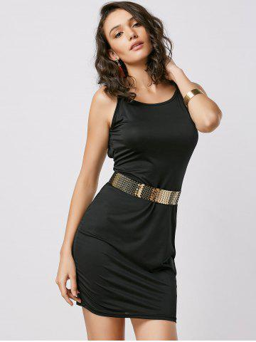 Unique Fitted Open Back Slip Dress - XL BLACK Mobile