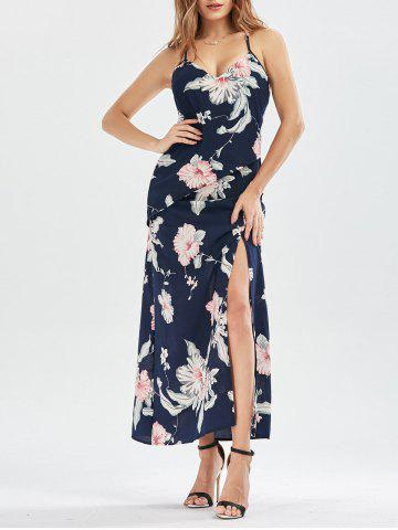 Criss Cross High Split Floral Maxi Dress Bleu Violet S